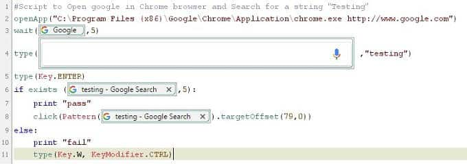"Sikuli Script to Open google in Chrome browser and Search for a string ""Testing"""